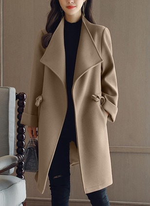 Wool & Wool Blend Long Sleeve Lapel Pockets Coats