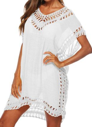 Polyester Solid Cover-Ups Swimwear (147082736)