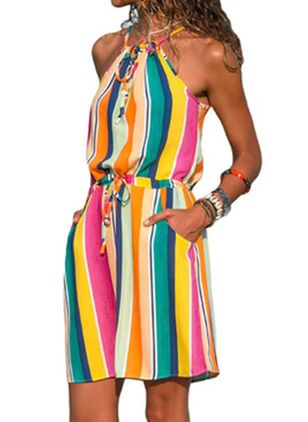 Casual Color Block Skater Halter Neckline X-line Dress (100001999)