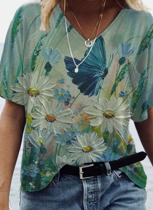 Floral V-Neckline Short Sleeve Casual T-shirts (101923921)