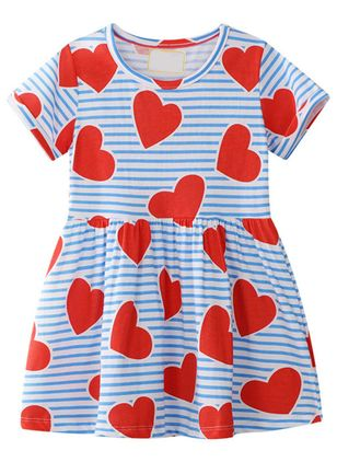 Girls' Sweet Geometric Going Out Short Sleeve Dresses