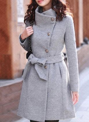 Long Sleeve Buttons Trench Coats Coats (107251410)
