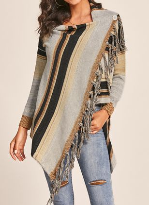 Draped Neckline Stripe Casual Asymmetrical Buttons Sweaters
