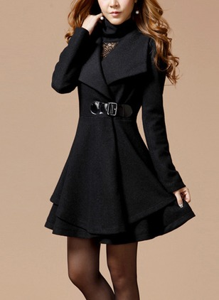 Wool & Wool Blend Long Sleeve Lapel Ruffles Duffle Coats