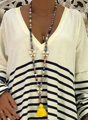 Boho Tassel Ball Crystal Pendant Necklaces (1504956)