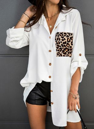 Leopard Casual V-Neckline Long Sleeve Blouses (146783296)