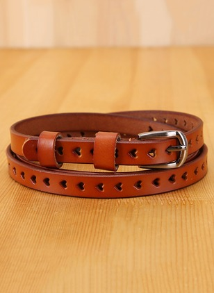 Leatherette Hollow Out Metal Solid Belts