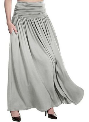 Solid Maxi Casual Pockets Skirts (6211469)