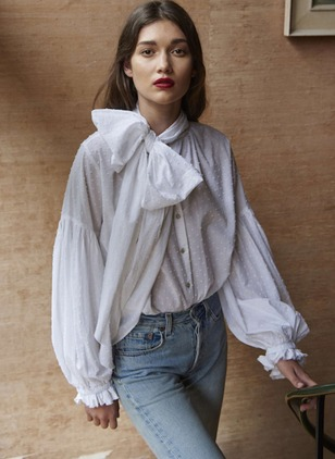Solid Polyester Long Sleeve Blouses