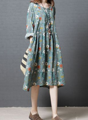 Elegant Floral Tunic Round Neckline Shift Dress (4265492)