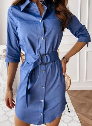 Casual Solid Shirt Collar X-line Dress (4126821)