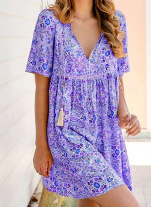 Casual Floral Tunic V-Neckline Shift Dress (4074216)