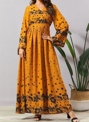 Casual Floral V-Neckline Maxi X-line Dress (110516965)