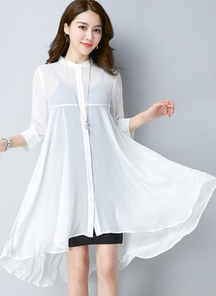 Chiffon 3/4 Sleeves Round Neck Ruffles Buttons Coats