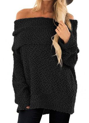 Off the Shoulder Solid Casual Loose Regular Shift Sweaters (109555621)
