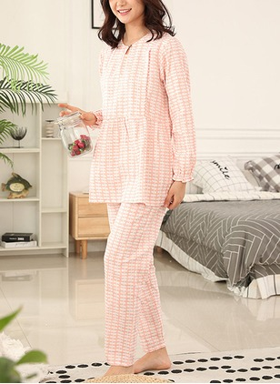Cotton Round Neckline Color Block Ruffles Pajamas