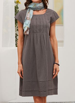 Casual Solid Shirt Round Neckline Shift Dress (6000180)