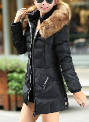 Polyester Long Sleeve Hooded Zipper Pockets Unremovable Fur Collar Down Coats
