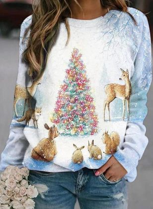 Animal Christmas Round Neckline Long Sleeve Blouses (146738362)
