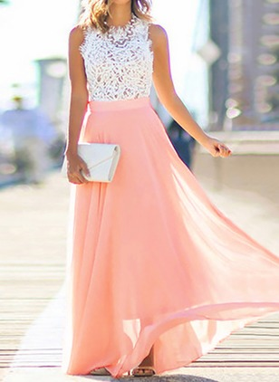Solid Lace Tank Maxi X-line Dress