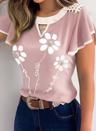 Floral Casual Round Neckline Short Sleeve Blouses (4294205)