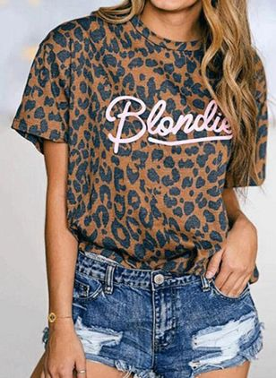 Leopard Round Neck Short Sleeve Casual T-shirts (147225586)