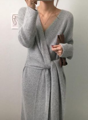 Solid Wrap Long Sleeve Midi X-line Dress
