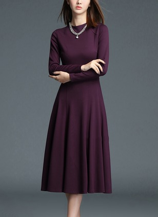 Cotton Solid Long Sleeve Knee-Length A-line Dress