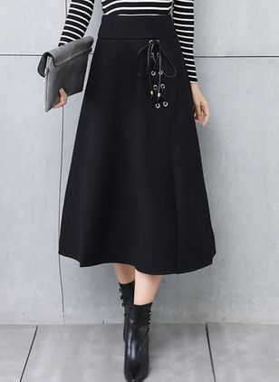 Solid Mid-Calf Casual Hollow Out Skirts