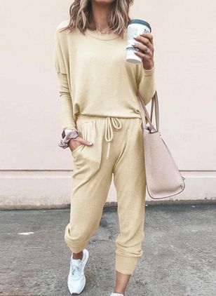 Round Neckline Plain Pockets Loungewear (106942888)