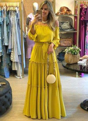 Solid Long Sleeve Maxi X-line Dress