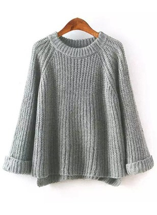 Round Neckline Solid Loose Sweaters