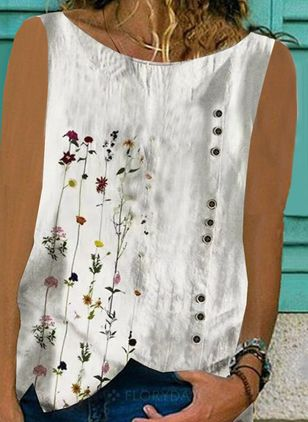 Floral Casual Round Neckline Sleeveless Blouses (147183230)