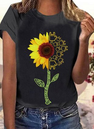 Floral Round Neck Short Sleeve Casual T-shirts (1528721)