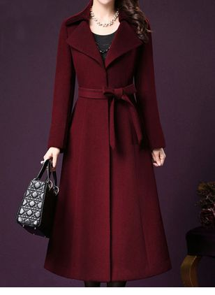 Long Sleeve Trench Coats Coats (107423123)
