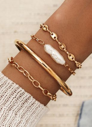 Casual Round No Stone Link Bracelets (4126973)