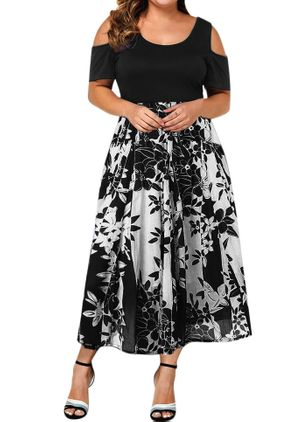Plus Size Casual Floral Round Neckline Midi X-line Dress (5243504)