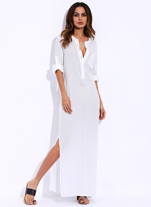 Solid 3/4 Sleeves Maxi Dress