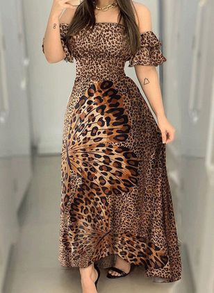 Casual Leopard Tunic Off the Shoulder X-line Dress (147204647)