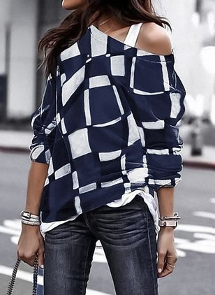 Color Block Casual Others Long Sleeve Blouses