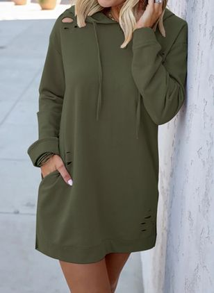 Casual Solid Sweatershirt Draped Neckline Shift Dress (110711777)