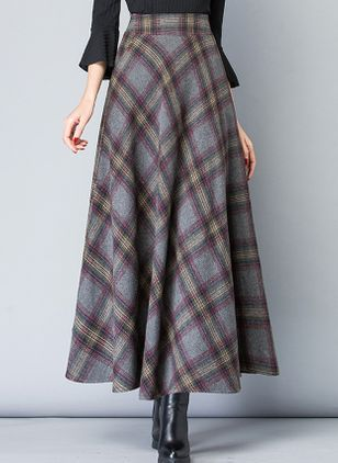 Check Maxi Casual Skirts (109555664)