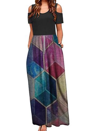 Casual Geometric Round Neckline Maxi X-line Dress (147221495)