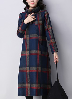Cotton Plaid Long Sleeve Midi Dresses