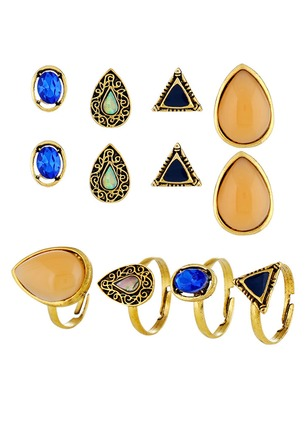 Geometric Water Drop Gemstone Earring Ring Jewelry Sets