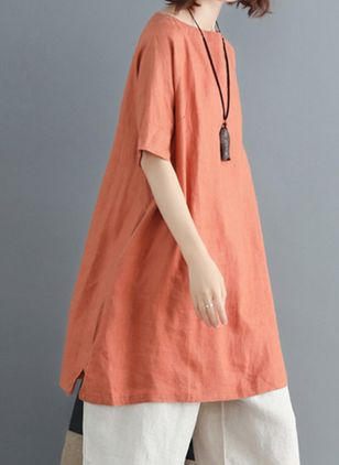 Casual Solid Tunic Round Neckline Shift Dress (100546578)
