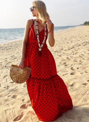 Polka Dot Slip Sleeveless Maxi Shift Dress