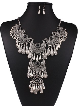 Tassel Water Drop Round Gemstone Necklace Earring Jewelry Sets
