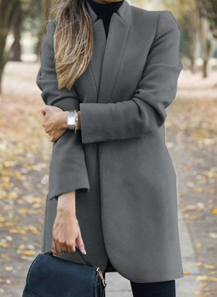 Long Sleeve Collarless Coats (107519761)