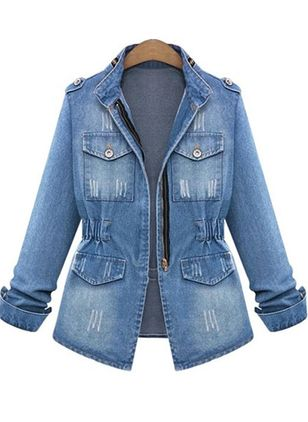 Long Sleeve Collar Buttons Zipper Pockets Denim Jackets